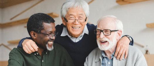 group of happy senior men